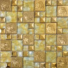 gold stainless steel flower patterns metal and glass mosaic tiles