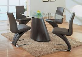 furniture round glass top dining table with dark brown wooden