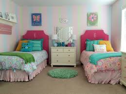 sherbet sweet twin girls bedroom makeover painted stripes cute decor