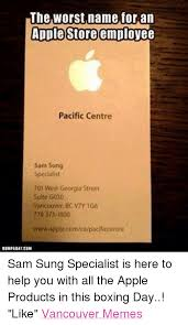 Boxing Day Meme - the worst name for an apple store employee pacific centre sam sung