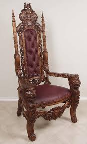 Throne Style Chair King Lion Throne Chair Wax U0026 Burgundy