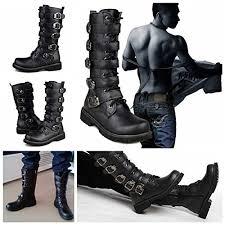 fashion motorcycle boots amazon com lala ikai martin motorcycle boots men black retro