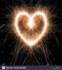 heart sparklers sparkling heart shape made at with sparklers stock photo