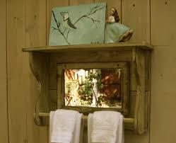 mirror shelf reclaimed wood towel bar for bath shabby