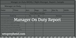 Hotel Front Desk Supervisor Job Description Manager On Duty Mod Report Night Manager Checklist
