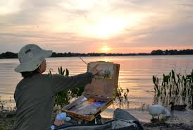 hiu lai chong paints a sunset during winter park paint out albin