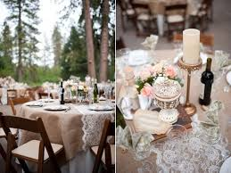 Burlap Lace Table Runner Burlap And Lace Wedding And Party Ideas One Charming Day