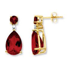 garnet earrings garnet earrings diamond accents 10k yellow gold