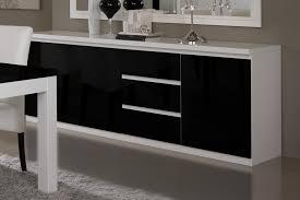Buffet bahut design 3 portes 3 tiroirs laqué blanc et noir Loana