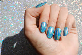 aqua holo nails choose your shape set of 20 fake nails false