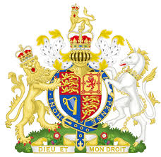 colorful royal british coat of arms with unicorn and lion tattoo