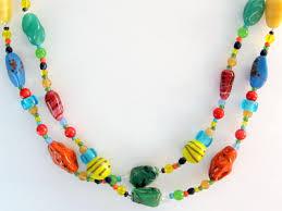 vintage glass crystal necklace images Vintage 1960s multi colour art glass necklace jpg