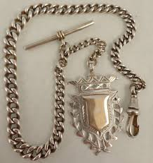 silver watch chain necklace images Antique silver pocket watch albert chain with fob medal ian jpg