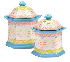 turquoise kitchen canisters temp tations old world set of 2 canisters page 1 u2014 qvc com
