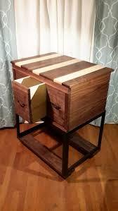 comic book storage cabinet table walnut maple u0026 metal frame