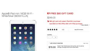 target black friday apple tablet ipad mini with 80 gift card deal sells online in target black