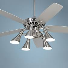 Nickel Ceiling Fan With Light Ceiling Fan Modern Fans With Led Lights Contemporary Cool Silver