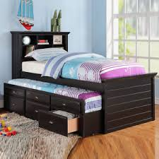 Daybed With Bookcase Cottage Youth Kids Bookcase Cherry Black Trundle Drawers Twin