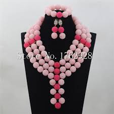 pink beads necklace images Pink seed beads bridal indian jewelry set ball beads pendant jpg