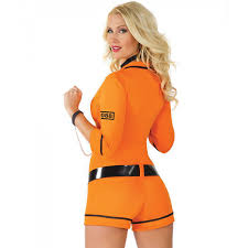 Convict Halloween Costumes Orange Black Inmate Jumpsuit