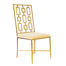 Gold Dining Chairs Gold Leaf Dining Chair With Beige Velvet Upholstered Seat By