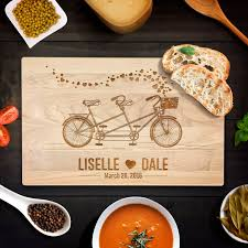 personalized wedding cutting board custom cutting board personalized wedding gift bicycle built for