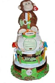 monkey giraffe jungle theme 3 tier diaper cakes birthday cakes