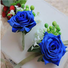 blue boutonniere 2018 artificial flowers bridesmaid blue wrist corsage