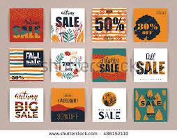set artistic creative autumn sale cards stock vector 486152110