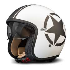 kbc motocross helmets premier jet vintage helmet white black star open face