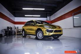 porsche gold project 24k gold porsche cayenne gold chrome vinyl wrap unique