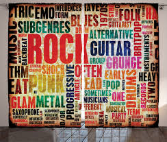 rock home decor curtains 2 panels set music rock poster effective home decor ebay