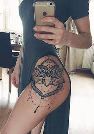 flower tattoo on hip lace lotus flower mandala chandelier hip tattoo placement ideas