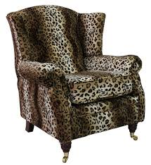 High Backed Armchairs Wing Chair Fireside High Back Armchair Brown Leopard
