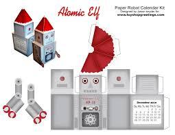 santa toy robot christmas atomic elf paper cutout