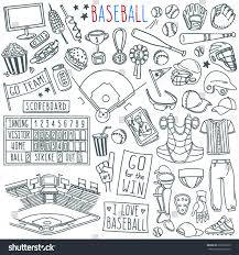 baseball doodle set special equipment players stock vector