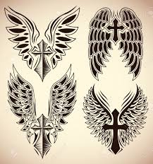 cross angel wing tattoos set of cross and wings tattoo elements royalty free cliparts