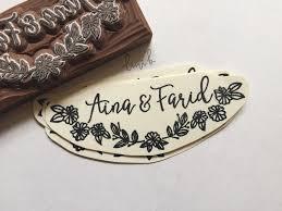 name style design couple name stamp with floral design u2013 lini u0027b
