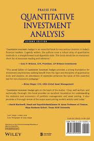 quantitative investment analysis the cfa institute series amazon