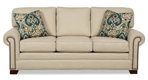 queen sleeper sofa with memory foam mattress transitional sleeper sofa with brass nailheads and memory foam