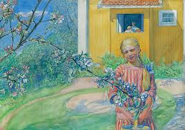 with apple blossom painting by carl larsson