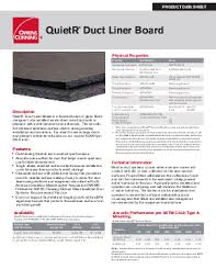 Owens Comfort Systems Quietr Duct Liner Board Owens Corning Insulation