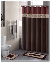 Polished Chrome Curtain Rods Classic Bathroom With Red Brown Shower Curtains And Oval Polished
