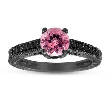 black and pink engagement rings tourmaline black diamond engagement ring 14k black gold 1 12