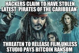Pirates Of The Caribbean Memes - hackers demand bitcoin ransom for latest pirates of the caribbean