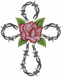barbed wire cross embroidery design annthegran