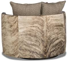 Leopard Print Swivel Chair Barrel Style Chair Covered In Leather Herringbone And Animal Print