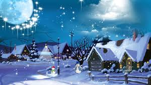 Stars Houses Snowman Village Stars Houses Snow Artwork Night Clouds