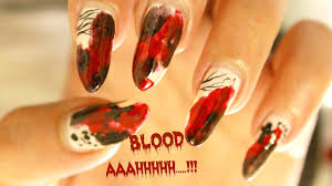 easy halloween nail art zombie blood splatter nail art design