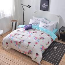 Light Blue Twin Comforter 100 Cotton Unicorn Bedding Set Queen Twin Double Size Duvet Cover